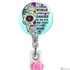 Strong Woman Retractable Badge Holder